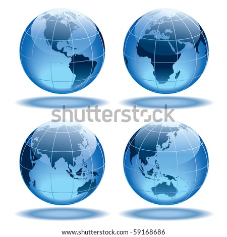 Four globes showing earth with all continents. - stock vector