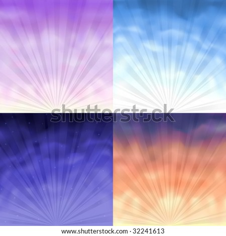 Four gradient mesh backgrounds - morning, day, evening and night - stock vector