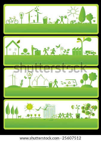 four green banners with ecology elements - stock vector