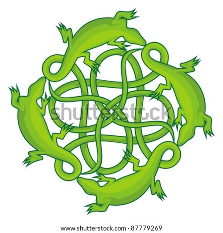 Four green lizards forming a celtic square knot with their tails.