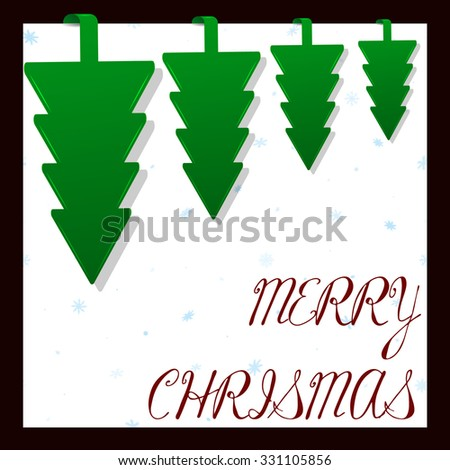 Four green paper Christmas trees. Upside down. White background. Blue snowflakes. New year design. Vector illustration.