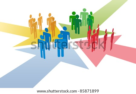 Four groups of people meet and connect at intersection of 4 arrows - stock vector