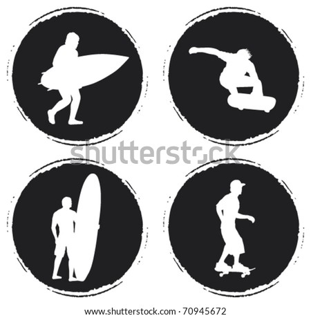 four grunge circle with skater and surfer - stock vector