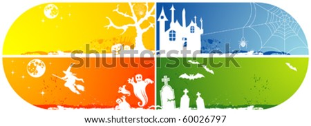 Four grunge Halloween frame with bat, pumpkin, witch, ghost, element for design, vector illustration - stock vector