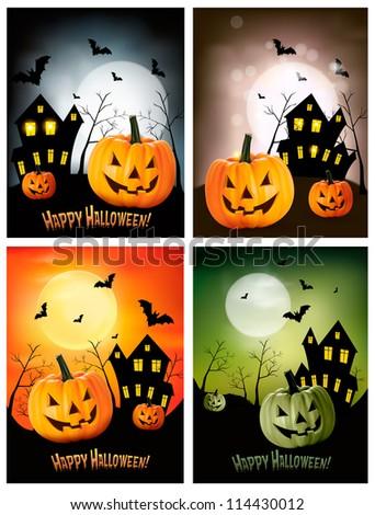 Four Halloween background. Vector - stock vector