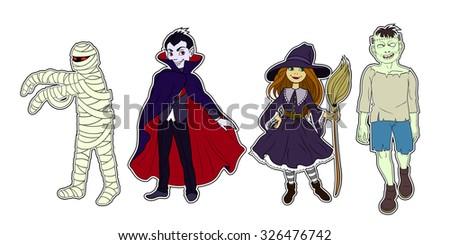 Four Halloween cartoon colour funny characters - stock vector