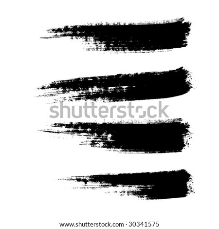 four hand drawn paintbrushes, vector  without gradient - stock vector