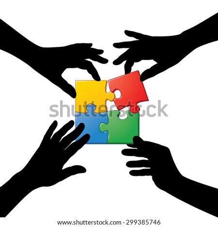 Many Teamwork People Join Colorful Hand Stock Vector ...