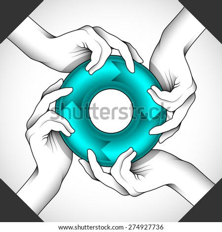 Four hands holding a symbol can be used as an illustration of help, teamwork, some type of human circulation or as part of other creative design. Editable vector with several layers. Eps 10 - stock vector