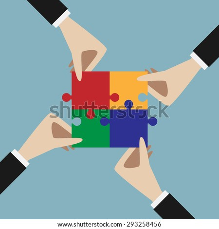 Four hands holding assembled multicolor jigsaw puzzle. Teamwork, solution, unity, partnership concept. EPS 10 vector illustration, no transparency - stock vector