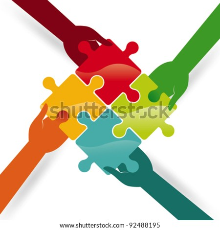 Four hands make a puzzle. Vector Illustration - stock vector