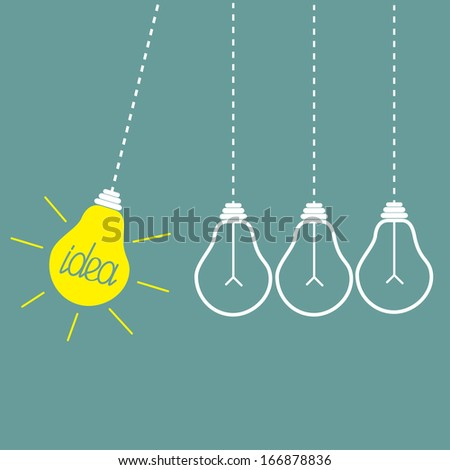 Four hanging yellow light bulbs. Perpetual motion.  Idea concept. Vector illustration. - stock vector