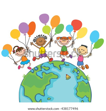 four happy jumping kids round the globe, with balloons isolated background cartoon vector illustration - stock vector