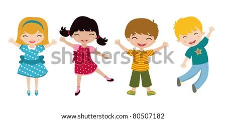Four happy kids - stock vector
