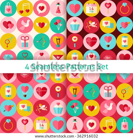 Four Happy Valentine Day Seamless Patterns Set with Circles. Love Flat Design Vector Illustration. Background. Set of Wedding Items. - stock vector