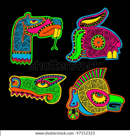 four heads of animals, American Indian's ornament - stock vector