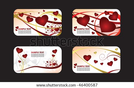 Four heart valentines card