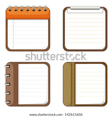 Four icons of notepads - stock vector