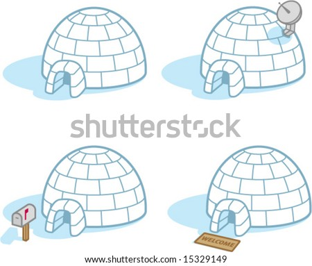 Four igloos - stock vector