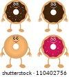 Four isolated donut cartoon characters - stock vector