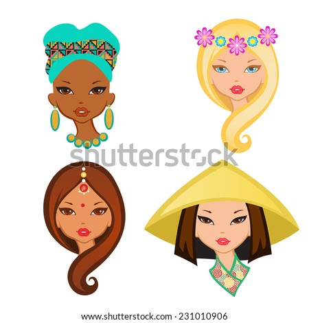 Four isolated portrait of little girls from different ethnic groups. - stock vector