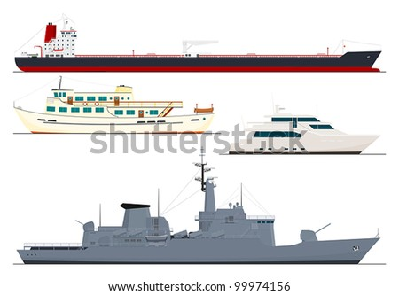 four isolated ships - stock vector