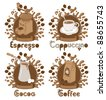 four items on the coffee theme - stock vector