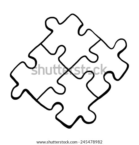 four jigsaw pieces / cartoon vector and illustration, black and white, hand drawn, sketch style, isolated on white background. - stock vector
