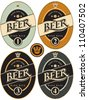 four labels for beer in a retro style - stock vector