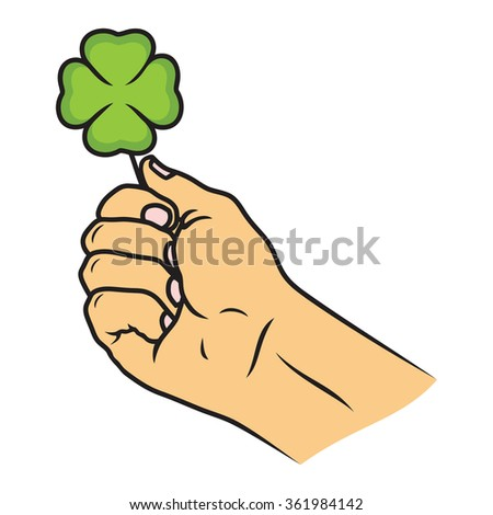 Four-leaf Clover And A Hand Vector - stock vector