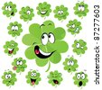 Four leaf clover cartoon with many facial expression - symbol of happiness - stock vector