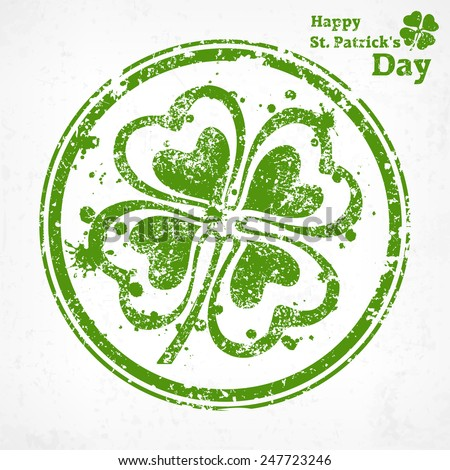 Four leaf clover grunge in round, vector illustration for St. Patrick's day  - stock vector