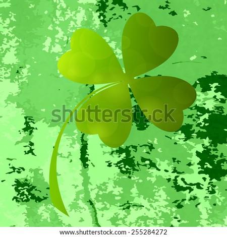 Four- leaf clover - Irish shamrock St Patrick's Day symbol. Useful for your design. Green  clover labels. St. Patrick's day green icons  on green grunge background. - stock vector
