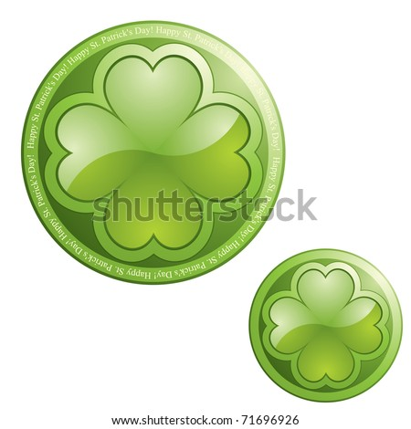 Four leaf clover on sphere button icon - design element - stock vector