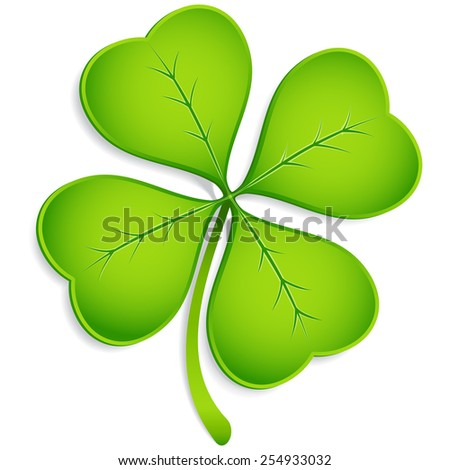 Four-Leaf Clover - Realistic vector clover with shadow.  Elements are grouped separately, and file is layered for easy editing.  Colored with global swatches, so file can be recolored easily.   - stock vector