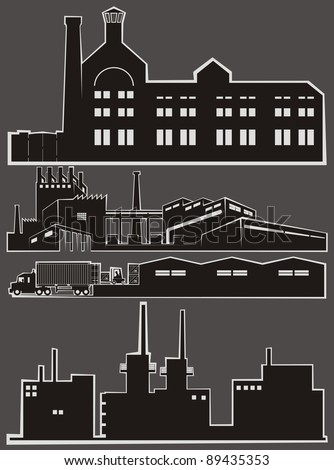 Four light industry facility cartoon outlines - vector illustration set (Part 2) - stock vector