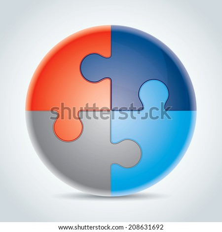 Four made from colorful puzzle pieces vector illustration - stock vector