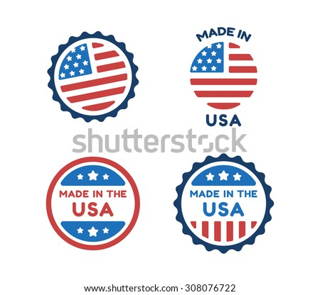 Four Made in USA labels in colors of american flag isolated on white background. - stock vector