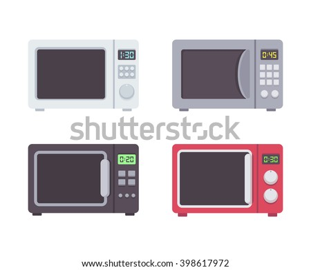 Four microwave ovens in flat cartoon style. Vector illustration set of household microwave ovens. - stock vector