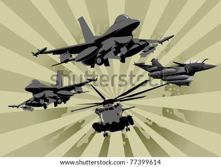 four military aircraft on alert (vector illustration); - stock vector