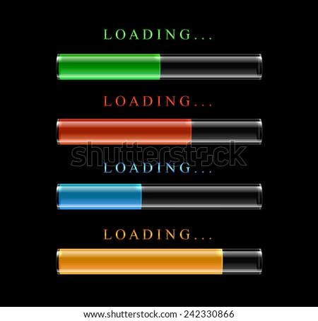 Four modern preloaders or progress loading bars. Vector illustration. - stock vector
