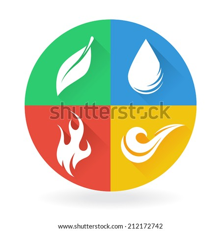 Four Natural Elements - Earth, Water, Air and Fire - stock vector