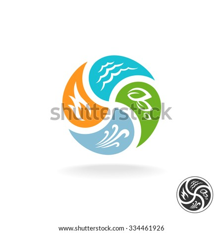 Four natural elements logo. Fire, water, air wind and nature power. - stock vector