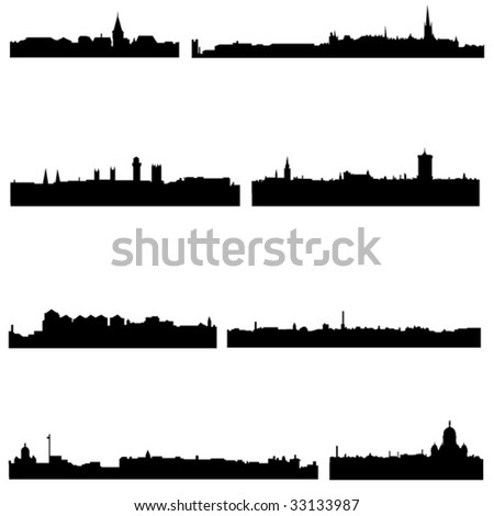 Four Nordic countries well-known high-rise building - stock vector
