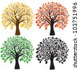 Four oak with yellow, red and green foliage. Ebony. Vector - stock vector