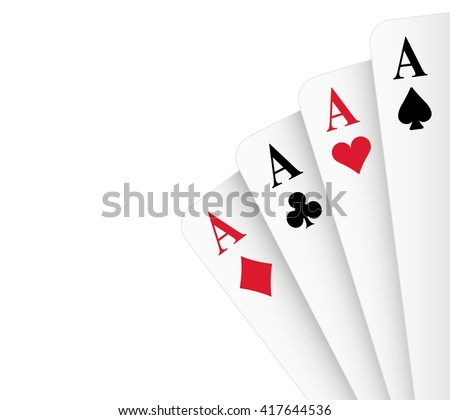 Four of a kind aces poker hand vector illustration