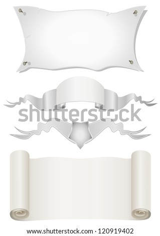Four Old scroll paper on a white background - stock vector