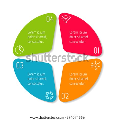 Four options infographic banner. Circular workflow layout with triangle parts. Number banner template for diagram, presentation or chart. Progress steps for tutorial. Business concept sequence banner. - stock vector