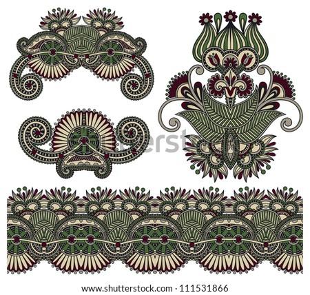 four ornamental floral adornment - stock vector