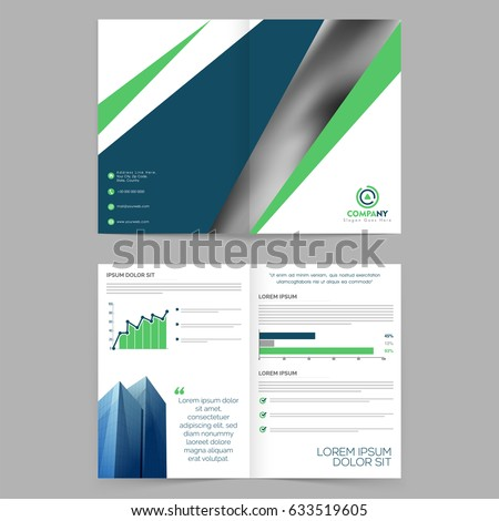 Four Pages Brochure Template Design Statistical Stock Vector Hd